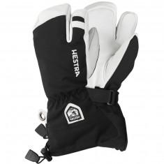 Hestra Army Leather Heli 3-finger Skihansker, Junior, Black