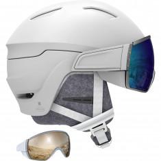 Salomon Mirage, Skihjelm med Visir, White/Blue Solar