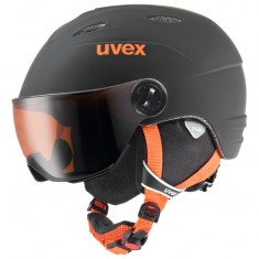 Uvex Junior pro Skihjelm med Visir, Black-Orange Mat